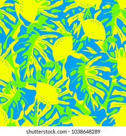 seamless pattern of yellow lemons, palm leaves on green, abstract fruit background