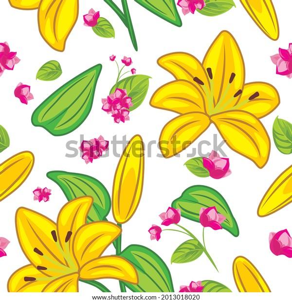 seamless-pattern-yellow-lilies-pink-600w