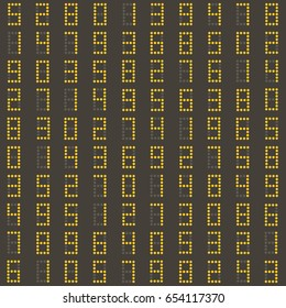Seamless pattern with yellow numbers on a dark scoreboard. Good for wrapping paper, postcards and promotional products.