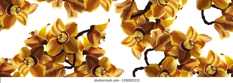 Seamless pattern with yellow orchids on a white background. Tropical Orchid Cymbidium flowers. Hand drawn realistic vector illustration with bright yellow orchids.