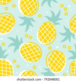 Seamless pattern with yellow pineapple on a green background. Original design for printing on fabrics, children's and summer clothes, dishes and other surfaces.