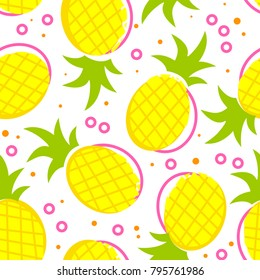 Seamless pattern with yellow pineapple and pink circles on a white background. Original design for printing on fabrics, children's and summer clothes, dishes and other surfaces.
