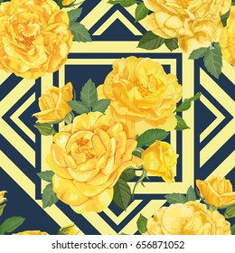 Seamless pattern of yellow roses with bud and leaves on blue graphic geometric background. Vector set of blooming flower for your design. Adornment for wedding invitations and greeting card.