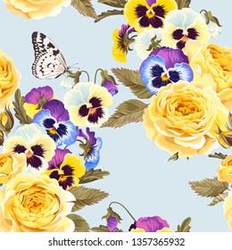 Seamless pattern with yellow roses and pansies