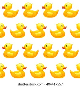 Seamless pattern with yellow rubber duck on white background. Duck toy baby shower illustration