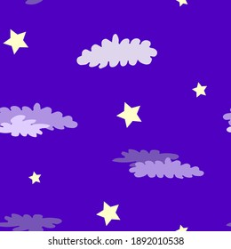 Seamless pattern with yellow stars and violet clouds. Design for wallpaper and wrapping, fabric and textile. Vector illustration.