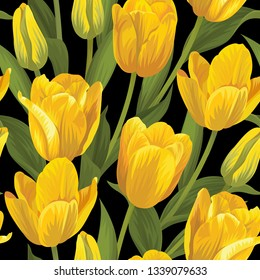 Seamless pattern of yellow tulip flowers background. Vector set of blooming floral for holiday invitations, greeting card and fashion design.