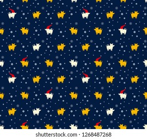Seamless pattern of yellow and white pigs boars and snowflakes on dark blue background. Flat vector graphics for design.