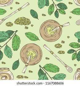 Seamless pattern with yerba mate: drink mate, bomber, calabash, and mate branch and leaves. Vector hand drawn illustration.