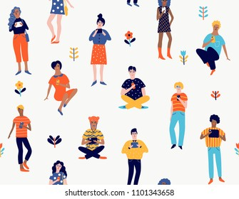 Seamless pattern with young people with gadgets