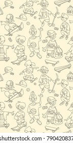 Seamless pattern of young skateboarders. Funny cartoon sketch of teenager boys. Skateboarder doing a jumping trick, vector illustration. Playing kids.