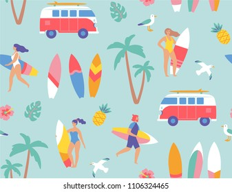Seamless pattern. Young surfers with their surfboards. Vector illustration.