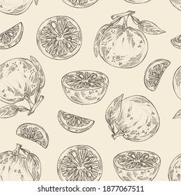 Seamless pattern with yuzu: fruts, leaves and yuzu slice. Citrus junos. Vector hand drawn illustration