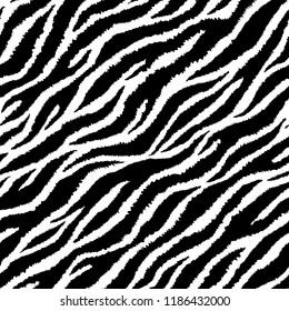 Seamless pattern with zebra fur print. Vector illustration. Exotic wild animalistic texture.