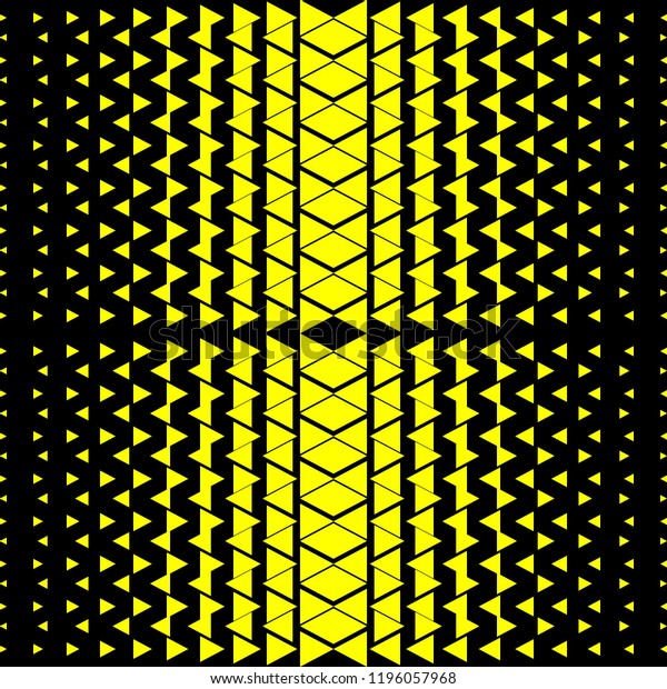 Seamless Pattern Zigzag Halftone Black Yellow Stock Vector