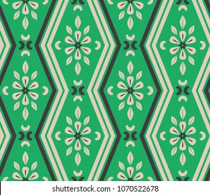 seamless pattern with zigzag lines and floral elements
