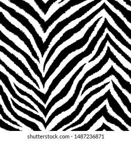 Seamless pattern with zigzag zebra fur print. Vector wallpaper. Exotic wild animalistic skin texture.