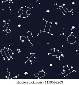 Seamless pattern with zodiac signs, twelve of elements. Decorative background vector with modern thin line icons, flat style, stars and constellations set. Good for printing for observatory, horoscope