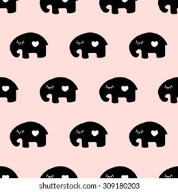 seamless pattern,cute elephant art  background design for fabric and decor