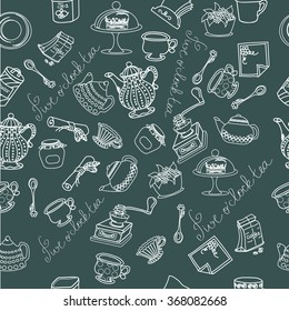 Seamless pattern,doodle kitchen background,
