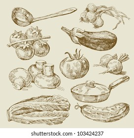 seamless pattern-hand drawn of food