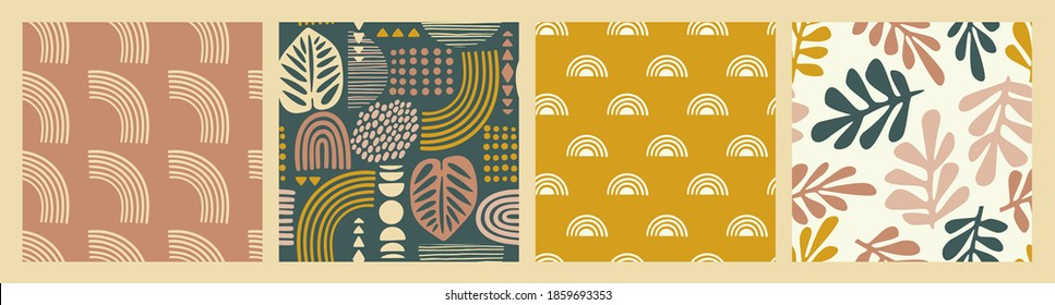 Artistiс seamless patterns with abstract leaves and geometric shapes. Modern vector design for paper, cover, fabric, interior decor and other users.