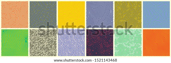 Seamless patterns, abstract organic lines color backgrounds set. Biological patterns with yellow, purple and blue memphis dots, irregular squiggle lines and abstract shape texture