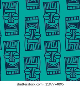 seamless patterns in the African style. Background with masks spirits. Vector illustration.