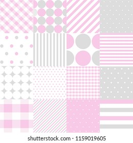 Seamless Patterns For Baby Girl Shower Party Set Of Cute Pink Backgrounds Invitation Templates