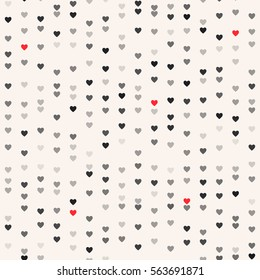 Seamless patterns with black and red hearts. Valentine's day background. Modern simple stylish repeating texture