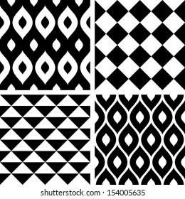 Seamless patterns black and white
