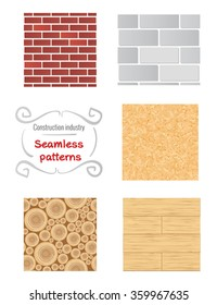 Seamless patterns of building materials. Walls textures. Construction industry