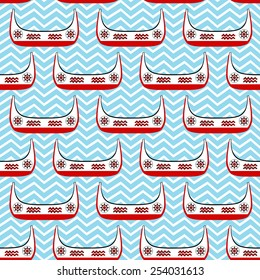 Seamless Patterns of Canoes of The Tao People (An Aboriginal People in Taiwan) on Wavy Ocean. The Canoes Are Decorated With Traditional Totem of The Tao People.