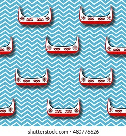 Seamless Patterns of Canoes of The Tao People (An Aboriginal People in Taiwan) on Wavy Ocean, With Drop Shadow. The Canoes Are Decorated With Traditional Totem of The Tao People.