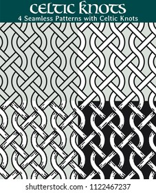 Seamless Patterns with Celtic Knots. 4 different versions of a seamless pattern with Celtic knots: with white filling, without filling, with shadows and with a black background.
