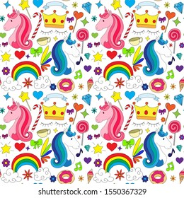 Seamless patterns of colorful cute Unicorn design concepts for print and background