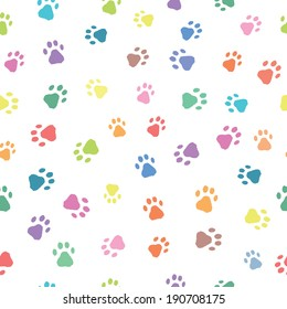 Seamless patterns with colorful prints of cat and dog