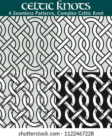 Seamless Patterns, Complex Celtic Knot. 4 different versions of a seamless pattern with Celtic knots: with white filling, without filling, with shadows and with a black background.