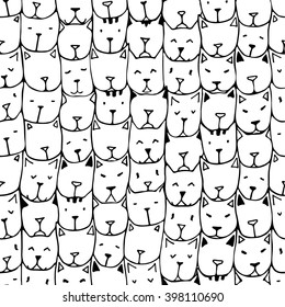 Seamless patterns with cute hand drawn cats. Vintage vector illustration. Doodle art.  Background with cat faces. Adult coloring pages.  Zentangle coloring book.