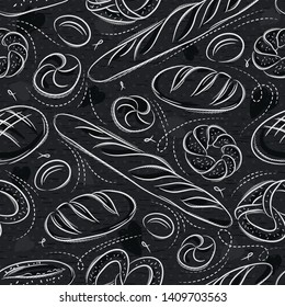Seamless patterns with different breads, pretzel, and bap on blackboard. Ideal for printing onto fabric and paper or scrap booking.