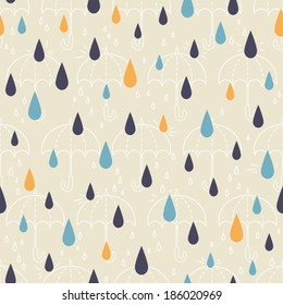 Seamless patterns of drops and umbrellas. Kid's elements for scrap-booking. Childish background. Hand drawn vector illustration.