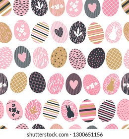 Seamless patterns with easter eggs in modern hipster hand drawn style