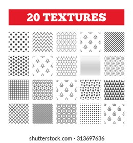 Seamless patterns. Endless textures. PET, Ld-pe and Hd-pe icons. High-density Polyethylene terephthalate sign. Recycling symbol. Geometric tiles, rhombus. Vector