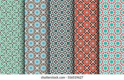 Seamless patterns with geometric ornaments. Vector set of arabic textures