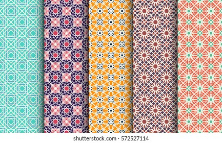 Seamless patterns with geometric ornaments. Vector set of arabic seamless textures