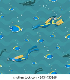 Seamless patterns with girls scuba divers and tropical fish. Divers in wetsuits, flippers and with a scooter, swimming under water. Underwater background.