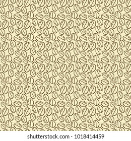 Seamless patterns with hand drawn coffee beans