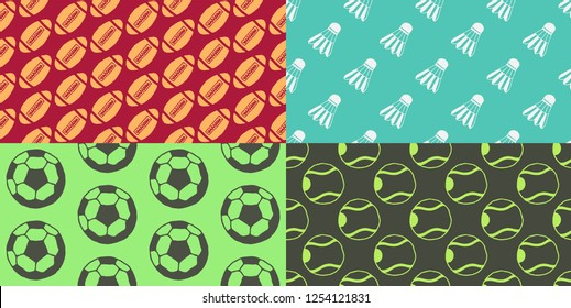 Seamless Patterns - Hand drawn icons - Sports - Tennis, Football, Badminton, Rugby
