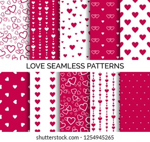 Seamless patterns with hearts. Set of vector backgrounds for Valentine's day, wedding party design
