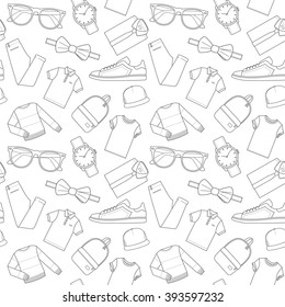 Seamless patterns of male clothes, shoes and accessories for online store. Men's wear backgrounds for shops. Thin lines.  Vector stock clipart.
